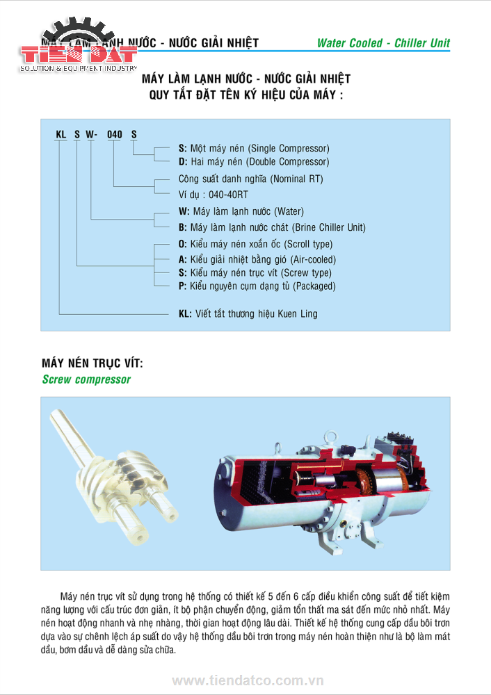 Thông tin máy làm lạnh nước bằng nước Kuen Ling