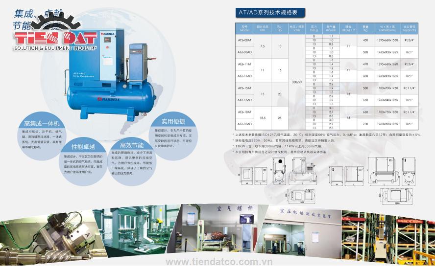 Thông số kỹ thuật máy nén khí trục vít